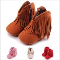chaussures en gros cadeaux de noël achat en gros de-Gros filles garçons bottes enfant en bas âge frange gland hiver bottes chaudes chaussures infantile bébé premiers promeneurs enfants cadeaux de noël