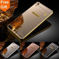 Wholesale Note Mirror Case - For Lenovo K3 Note case Lenovo A7000 Luxury Gold Plating Armor Aluminum Metal Frame + Mirror Acrylic Case phone Back Cover