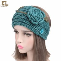 Wholesale Crochet Rose Headband - 2017 New Women Ear Warmer Headwrap Fashion Crochet Headband with Crochet 3D Rose Knit Flower Hairband