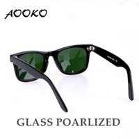 дизайнер солнцезащитные очки женщина поле оптовых-Бренд Aooko дизайнер солнцезащитные очки для женщин мода высокое качество мужчины поляризованных стеклянных линз с кожа классические солнцезащитные очки коробка 50/54 мм