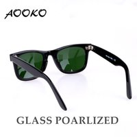 Wholesale High Quality Plank Sunglasses - AOOKO Brand Designer Sunglasses for Women Fashion High Quality Men Polarized Glass Lens with Leather Classical Sunglasses Box 50 54MM