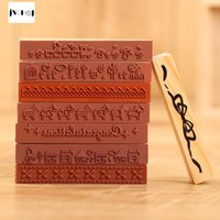 Wholesale Wholesale Wooden Animals Stamps - Wholesale- JWHCJ Strip shape cute animals wooden rubber stamp Kids DIY Handmade Scrapbook Photo Album, students Stamps Arts, Crafts gifts