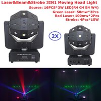 Wholesale Single Beam Laser Lights - Wholesale- 2Pack Newest 4X15W Strobe Beads + 16X3W RGBW Single Color LED Moving Head Beam Light With RG TWO Color 300mw Laser Lights For Dj
