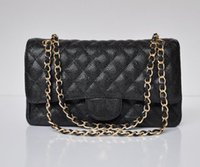 Wholesale High Quality women s Caviar leather Handbag Double Flap Bag Lambskin Fashion Shoulder Bags Plaid Chain Bag with gold hardware