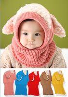 Wholesale Wholesale Fleece Hats Scarves - 2016 Winter New Style Baby Hats Dog Ears Berber Fleece Knitted Cotton Hats Scarf 6-36M MZ2200