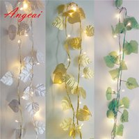 Wholesale Led Lights String Leaves - Wholesale- Grape Leaves LED Fairy String Lights USB DC5V Garland Indoor Patio,Wedding,Party and Decoration