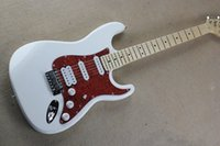 Wholesale Pickup Top - Free shipping 2015 new Top Quality white St electric Guitar SSH pickup guitars RED Pickguard 48 stratocaster