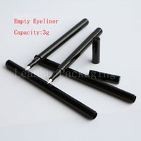 Wholesale make up tubes - 3G X 24 Black Empty Eyeliner Plastic Tube, 3ML Cosmetic Container, Liquid Eyeliner Bottle With Brush Cap, Make Up Empty Tube