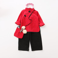 Wholesale Chinese Outfits Children - Everweekend Kids Girls Sets Zipper Tops Clothing and Black Color Loose Pants Outfits for Children Autumn Sets Chinese Style