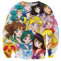 luna de marinero impresiones al por mayor-Alisister Anime Sailor Moon sudadera mujer sudaderas con capucha 3d impresión de dibujos animados camisa de manga larga ropa moleton feminino