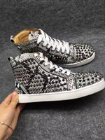 Wholesale Eva Flat Pattern Canvas Shoes - Luxury Shoes Designer Midtop Leather Red Bottom Shoes Black Spikes Men's Loubs Sneakers Flat Black With White Python Pattern