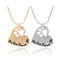 Wholesale Dog Shape Charms - Pet Memorial Jewelry My Dog Rescued Me Engraved Pet Paw Print Pet Lover Heart Shaped Pendant Necklace Animal Keepsake Charms