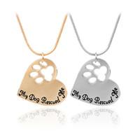 tatzendruckschmuck großhandel-Pet Memorial Schmuck Mein Hund hat mich gerettet graviert Pet Paw Print Pet Lover Heart Shaped Anhänger Halskette Tier Keepsake Charms