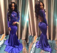 ingrosso abiti regency prom-Royal Blue Mermaid Prom Dresses Backless con maniche lunghe Illusion Corpetto Appliques Pizzo elastico in raso Abiti da sera Regency Spacchi laterali
