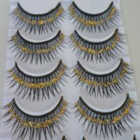 Wholesale Exaggerated Stage Makeup - Thick Colored False Eyelashes Eyelash Exaggerated Gold Sequins Lashes Arts Stage Makeup Cross Section Sequins False Eyelashe