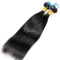 ingrosso capelli vergini peruviani 28 pollici di colore nero-Fasci di capelli umani diritti peruviani, estensioni vergini non trattate di colore naturale per le donne di colore, 8-28 pollici 2pcs / LOT