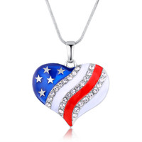 Wholesale Jewelry National Flags - Enamel American National Flag Crystal Heart Pendant Necklace Fashion Jewelry Independence Day Gift for Women 162344