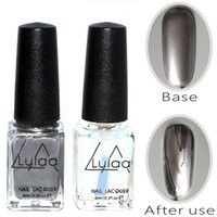 Wholesale-2pc Silber Spiegeleffekt Mode Metall Nagellack Lack Top Coat Metallic Nägel Kunst Tipps Nagellack Set AS143