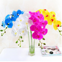 natural touch flowers wholesale NZ - 5p PU Moth Orchids Natural Looking Phalaenopsis Orchid Real Touch Orchid Flower for Wedding Party Decorative Artificial Flowers