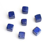 Wholesale lapis lazuli crystal healing for sale - Group buy 7 pieces Natural Tumbled Lapis Lazuli Carved Cube Crystal Reiki Healing Semi precious Stones with a Free Pouch