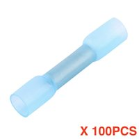 Wholesale connector standards - (100 pieces   lot) Solder Sleeve Heat Shrink Butt Wire Splice Crimp Connector Waterproof Terminals Blue BHT2 16-14 AWG