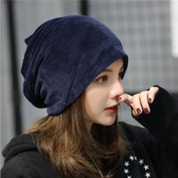Boucle Oreille Femme Pas Cher-Automne et hiver Femmes Nouveau peluche Hedge Cap Velvet Solid Color Pile Heap Hat Lady Simple Loisirs Care Ear Head Hat YYA617