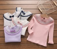 Wholesale Sleeve Inner Wholesale - New Arrivals Children Girls Pleated Collar Long Sleeve Spring Shirts White Purple Pink Cotton Inner Shirts Solid Bottoming Shirts B4474