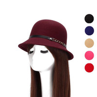 Wholesale Personalized Cap Hat - Free shipping Autumn and winter new ladies hat personalized metal chain felt hat imitation wool hat ceremony cap EMB031