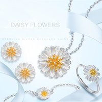 Wholesale Fresh Flower Bracelets - Popular daisy pendant Jewelry sets S925 pure silver earring flower necklace high quauty ring Bracelet fresh pendant Daisy jewelry set