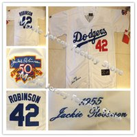 Wholesale LA Dodgers Jackie Robinson Jersey Throwback Los Angeles Dodgers White W th hall of fame Patch All Stitched