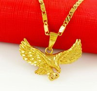 Wholesale Mens 24k Solid Gold Necklace - 2017 mens 24k in jewelry New Arrival Gold 24k gold necklace solid Gold Pendant Necklace Men Jewelry Eagle necklace men pendant
