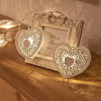 Wholesale Love String Light - 1.2M 10Leds battery Loving Heart Hollow Out Iron Drip String Light Garden Wedding Party Christmas Fairy Lights Holiday Decoration