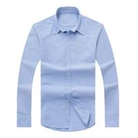 marka gömlek uzun erkek toptan satış-2017 yeni sonbahar ve kış erkek uzun kollu pamuklu gömlek saf erkek rahat POLOshirt moda Oxford gömlek sosyal marka giyim lar