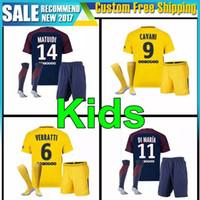 Wholesale Flash Suits - kids kit 2017 2018 VERRATTI Soccer suit CAVANI MARQUINHOS LUCAS KUZRZWA DI MARIA MATUIDI T SIVA DRAXLER 17 18 Child uniforms Soccer Jerseys