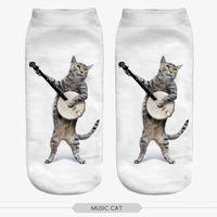 Wholesale Music Socks - Wholesale-10 pieces pack 3D Print music guitar cat Harajuku Cute winter Unisex Cartoon Low Ankle Calcetines Mujer Short Socks Women sock