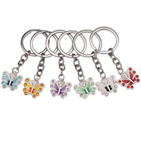 Wholesale Keychain Phone Crystals - Butterfly Keychain Keyrings Crystal Alloy Vintage DIY Bag Phone Penant Accessories Jewelry Gift Six colors Wholesale