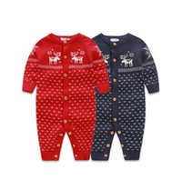 Wholesale Newborn Baby Romper Long Sleeve Boys Girls Christmas Sweaters Blue Red Coat Deer Design