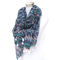 Wholesale Blue Aztec - Wholesale-blue multi tribal boho aztec geometric scarf with white tassels wholesale price