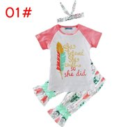 Wholesale Wholesale Childrens Pants - Newest INS Girls Childrens Clothing Sets Short Sleeve tshirts Printed Pants 2 Piece Set Letters Arrow Kids Clothes Suits Boutique Clothing
