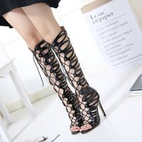 summer new sandals PU ultra-high-heeled cool boots Roman pop black magazines section high to help cool boots women's shoes free shipping 2014 newest Inexpensive cheap online clearance 2014 unisex cheap sale sale 92N2h