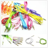 Wholesale N Male Plug - Colorful Flat Noodle Aux Audio Auxiliary Cable 3.5mm Jack Male to Male Plug Stereo Cord Car Extension Cable for Digital Device N Mobile