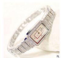 Wholesale Ladies Crystal Stainless Steel Bangles - New Fashion Famous Brand Women Full Diamond SilverBracelet Watch Lady Luxury Dress Jewelry Watch Rhinestone Bling Crystal Bangle