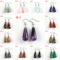 Wholesale Long Stone Drop Earrings - Wholesale 10 Pairs Latest Design Silver Plated Mixed Quartz Stone Long Water Drop Earrings Charm Jewelry Women's Earring