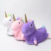 Wholesale Big Animal Slippers - 3 Colors Unicorn Plush Slippers Unicorn Casual Shoes Warm Household Winter Slippers for Unisex Big Children Shoes 2pcs pair CCA7483 50pairs