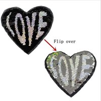 Wholesale Quilt Coat - 2017 NEW LOVE Heart Reversible color change Sequins Sew On Patches for clothes DIY Patch Applique Bag Clothing Coat Sweater Crafts
