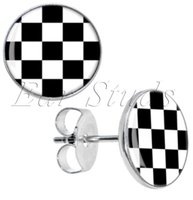 Wholesale Stud Diameter - 50pcs lot Stainless Steel Black and White Checker Ear Stud Earrings Fake Plugs Diameter 10mm*16g ZCST-040