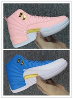 Cheap New Retro 12 XII Rose Bleu Blanc Or Hommes Baskets Chaussures Baskets Femmes High Top 12s Sports sports designer pour la vente Taille 36-47