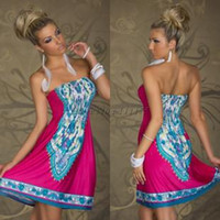 Wholesale Lowest Price Clothing - Hot Newest fashion Printed Off shoulder Women Casual Summer a-line Strapless Sleeveless Dress Cheap,Wholesale Low Price Clothing