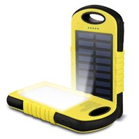 Wholesale Water Proof Solar - 5000mah Portable Solar Power Bank Dust-proof Water-proof Anti-droped Solar Charger Dual USB Output Power Banks with Led Lights