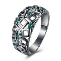 Wholesale Gun Rings For Women - INANIS Plating Gun Black Color Rings for Women Marriage Proposal Weddings Finger Rings with Zircon R1016 R1021 US Size 6-7-8-9